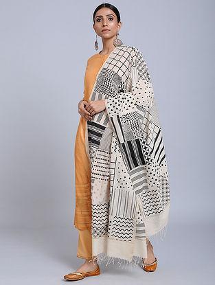 Ivory-Black Handwoven Ajrakh Printed Cotton Dupatta