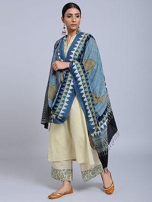 Blue-Black Handwoven Ajrakh Printed Cotton Dupatta