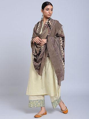 Brown Handwoven Ajrakh Printed Cotton Dupatta
