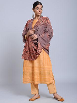 Purple-Red Handwoven Ajrakh Printed Cotton Dupatta