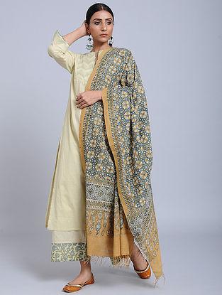 Yellow-Blue Handwoven Ajrakh Printed Cotton Dupatta