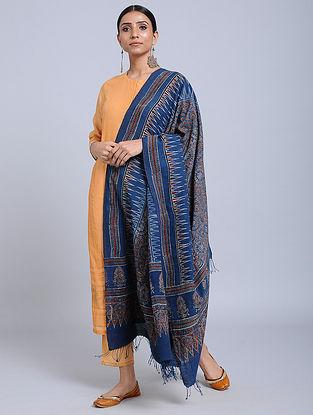 Blue Handwoven Ajrakh Printed Cotton Dupatta