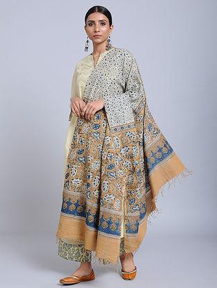 Ivory-Beige Handwoven Ajrakh Printed Cotton Dupatta