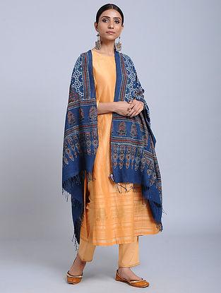 Blue-Red Handwoven Ajrakh Printed Cotton Dupatta