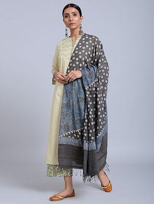 Grey-Blue Handwoven Ajrakh Printed Cotton Dupatta