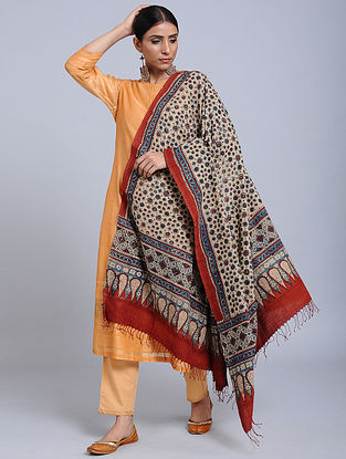 Ivory-Red Handwoven Ajrakh Printed Cotton Dupatta