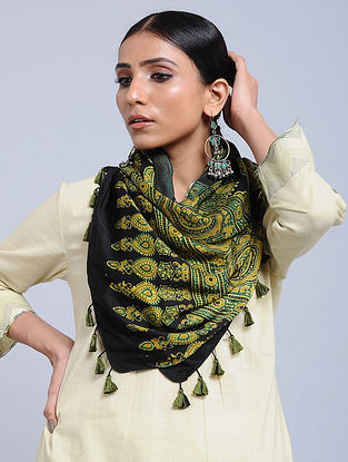 Black-Green Handwoven Ajrakh Printed Modal Silk Stole