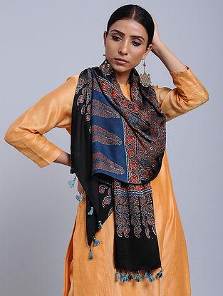 Blue-Black Handwoven Ajrakh Printed Modal Silk Stole