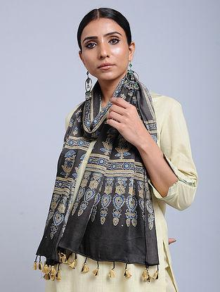 Grey-Beige Handwoven Ajrakh Printed Modal Silk Stole