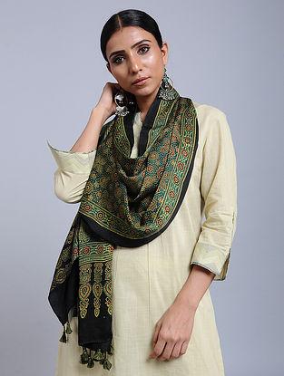 Green-Black Handwoven Ajrakh Printed Modal Silk Stole