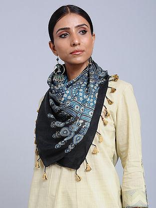 Blue Handwoven Ajrakh Printed Modal Silk Stole