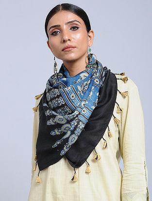 Blue-Beige Handwoven Ajrakh Printed Modal Silk Stole