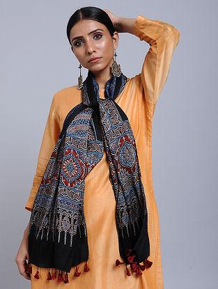 Black-Blue Handwoven Ajrakh Printed Modal Silk Stole