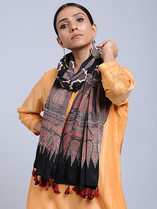 Purple-Black Handwoven Ajrakh Printed Modal Silk Stole