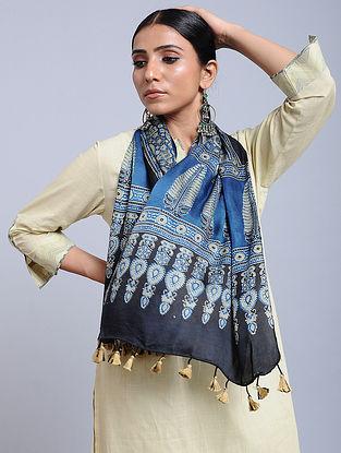 Blue-Ivory Handwoven Ajrakh Printed Modal Silk Stole