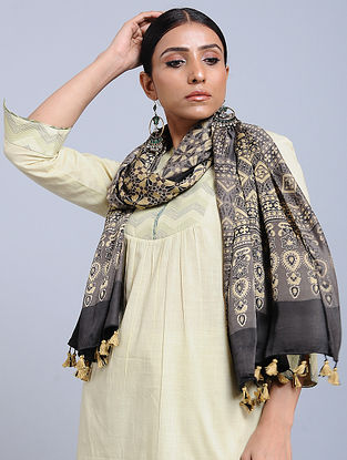 Kashish-Beige Handwoven Ajrakh Printed Modal Silk Stole
