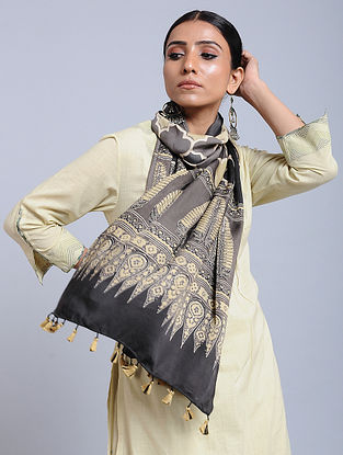 Grey-Yellow Handwoven Ajrakh Printed Modal Silk Stole