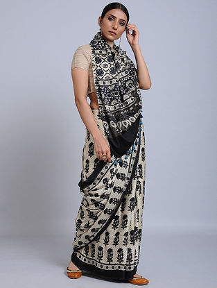 Ivory-Black Ajrakh Printed Modal Silk Saree