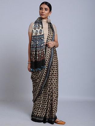 Ivory-Maroon Ajrakh Printed Modal Silk Saree