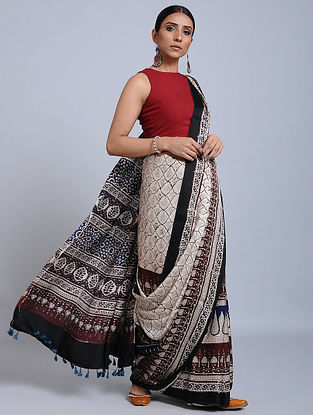 Ivory-Blue Ajrakh Printed Modal Silk Saree