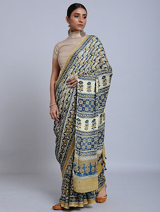 Ivory-Yellow Ajrakh Printed Modal Silk Saree