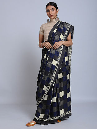 Blue-Grey Ajrakh Printed Modal Silk Saree
