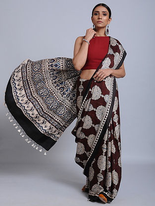 Red-Ivory Ajrakh Printed Modal Silk Saree