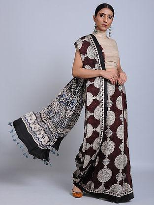 Maroon-Ivory Ajrakh Printed Modal Silk Saree