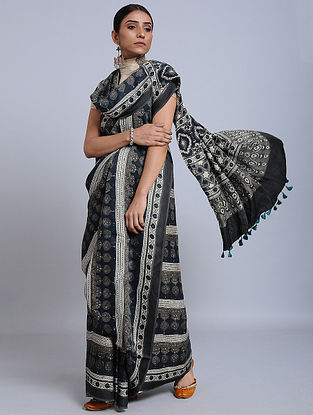 Grey-Blue Ajrakh Printed Modal Silk Saree