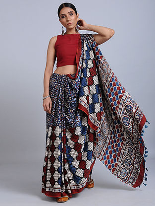Red-Blue Ajrakh Printed Modal Silk Saree