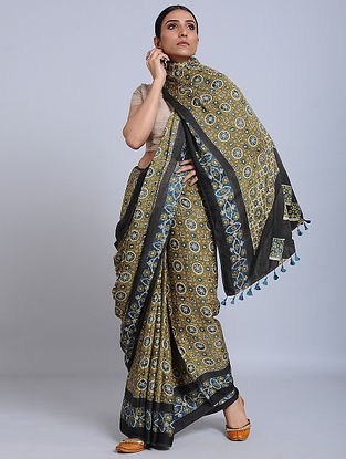 Green-Black Ajrakh Printed Modal Silk Saree