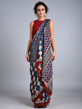 Blue-Red Ajrakh Printed Modal Silk Saree