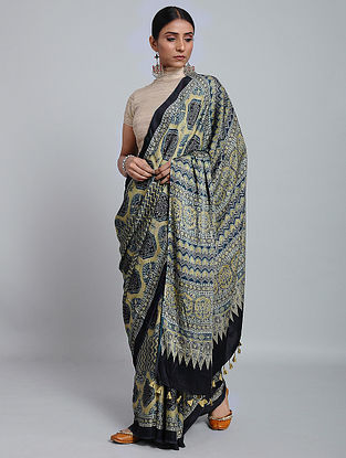 Blue-Yellow Ajrakh Printed Modal Silk Saree