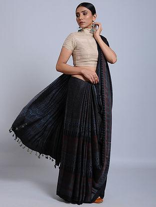 Black-Maroon Ajrakh Printed Modal Silk Saree