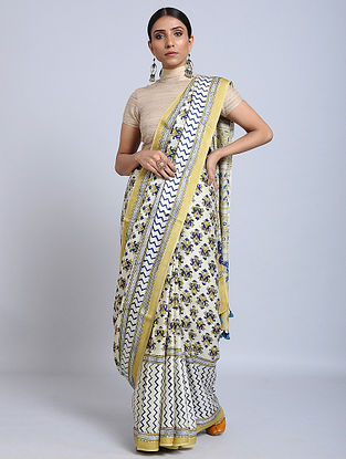 Yellow-Blue Ajrakh Printed Modal Silk Saree