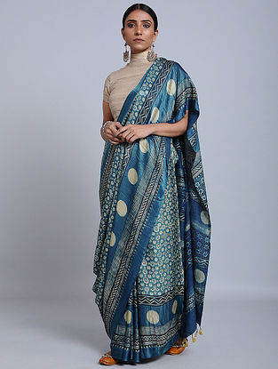 Blue Ajrakh Printed Gajji Silk Saree