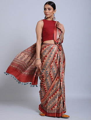 Pink-Red Ajrakh Printed Gajji Silk Saree