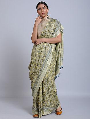 Yellow-Blue Ajrakh Printed Gajji Silk Saree