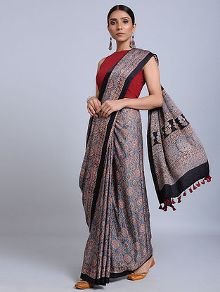 Blue-Red Ajrakh Printed Gajji Silk Saree