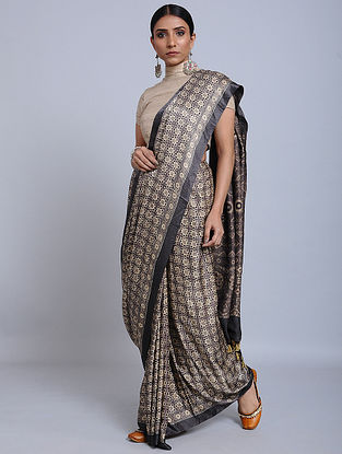 Grey Ajrakh Printed Gajji Silk Saree