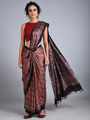 Red-Black Ajrakh Printed Gajji Silk Saree