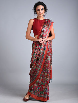 Red-Blue Ajrakh Printed Gajji Silk Saree