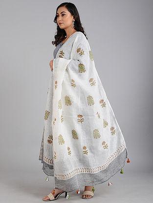 Ivory-Grey Block Printed Linen Dupatta