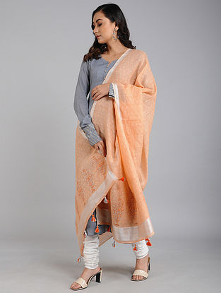 Orange Block Printed Linen Dupatta