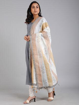 Ivory-Brown Block Printed Linen Dupatta