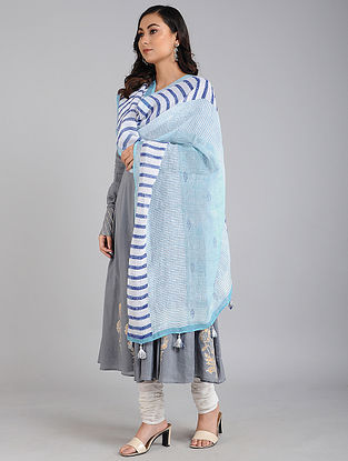 Blue Block Printed Linen Dupatta