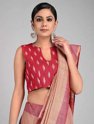 Red Handwoven Ikat Cotton Blouse