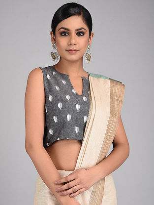 Grey Handwoven Ikat Cotton Blouse