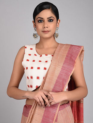 White-Red Handwoven Ikat Cotton Blouse