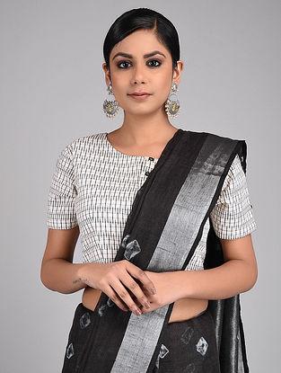 White-Black Handwoven Ikat Cotton Blouse